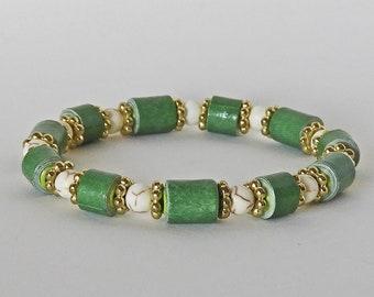 Green Bean - Handmade Paper Bead Bracelet