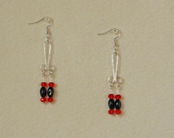 Black and Red All Over - Hand Beaded Earrings