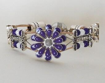 Purple Petals - Guitar String Bracelet