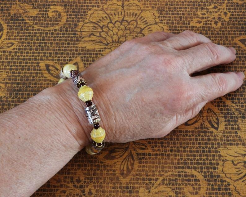 Handmade Paper Bead Bracelet /& Earrings Earth Tone Paisley