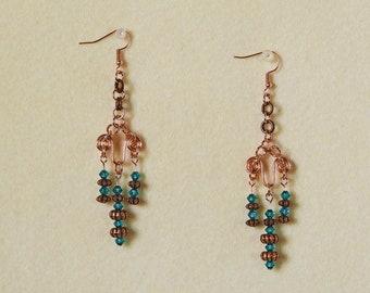 Copper Chandelier - Hand Beaded Earrings