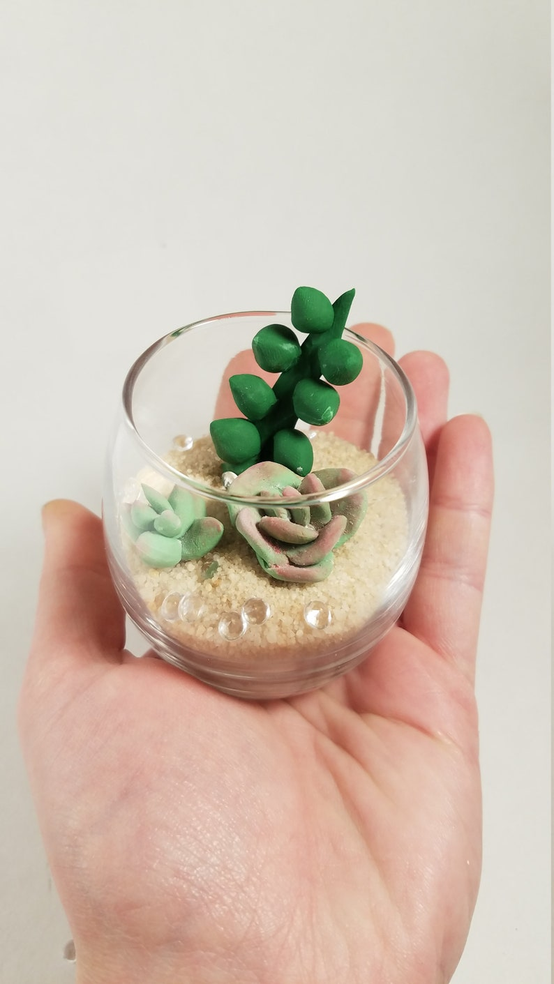 Mini Terrarium Clay Succulents Tiny Terrarium Miniature Succulents Desk Decoration Nature Decor Desert Decoration Tiny Cactus Mini