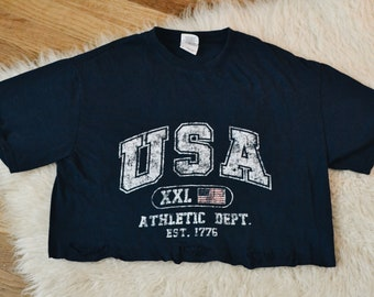 5719c500 Brandy Melville inspired USA athletic distressed and cropped shirt