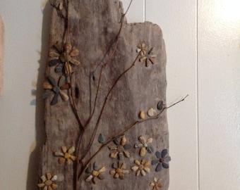 Found treasures. Driftwood, beach glass, stones