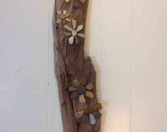 Alaskan driftwood, beach glass, stones
