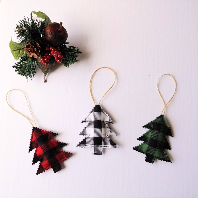 Trio of Farmhouse Christmas Tree Ornaments  Christmas Tree image 0