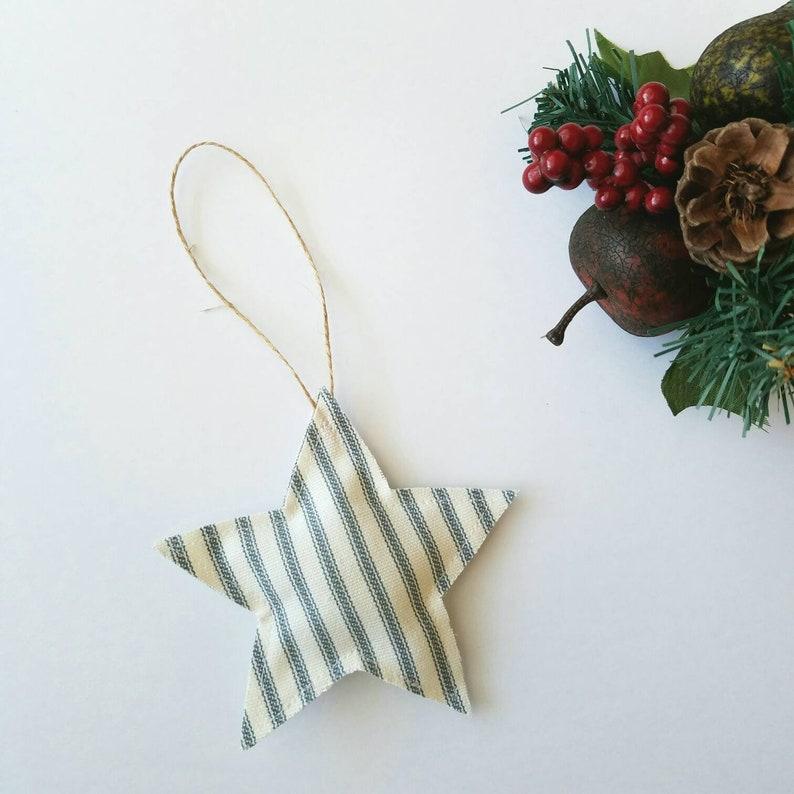 Farmhouse Star Christmas Ornament  Ticking Stripe Star  image 0