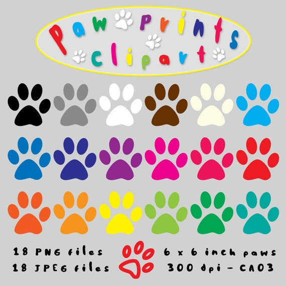 paws digital clipart paw prints clip art animal clipart pet etsy