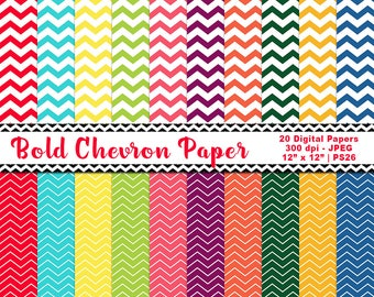 Chevron Digital Paper, Chevron Backgrounds, Bold Chevron Pattern, Chevron Scrapbook Paper, Chevron Printables, Commercial Use, Item PS26