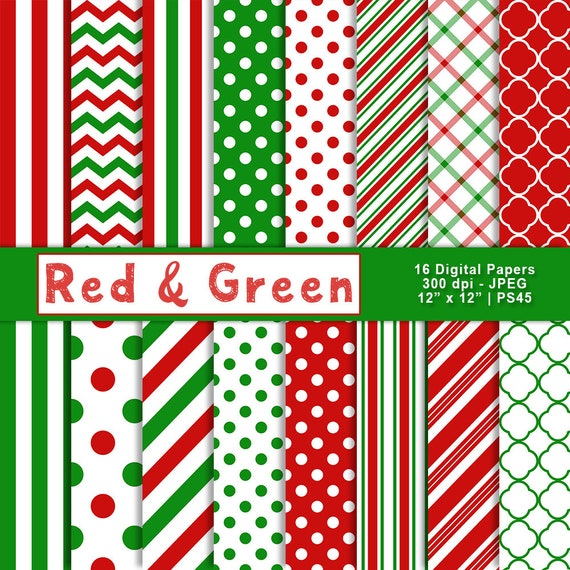 Christmas Scrapbook Paper.Red And Green Digital Paper Christmas Scrapbook Paper Printable Paper Digital Backgrounds Patterned Paper Commercial Use Item Ps45