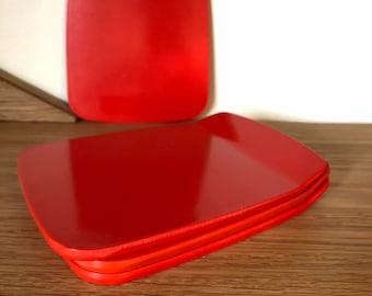 Rosti Mepal Butter Plates Smørrebrikker 70s Red Denmark Set of 4