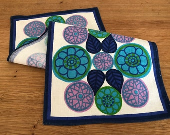 Small Cotton Table Topper Runner Sweden Vintage Mod Floral Design