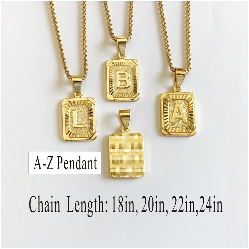 Gold Square Necklace men Medallion Necklace- Birthday gift for women Gold Initial Necklace A to Z Letter Necklace Letter Necklace