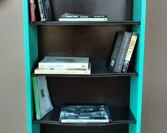 Lovely Turquoise Chocolate Brown Adjustable Shelves Bookcase Bookshelf