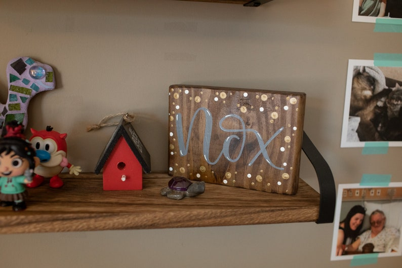 magical Nox small wood sign home decor spell fandom table sign birthday gift