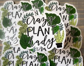 crazy plant lady STICKER, crazy plant lady gift, plant lover, monstera, snake plant, vinyl sticker for bottle, fiddle leaf sticker