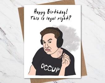 Elon Musk Birthday Card Funny Weed