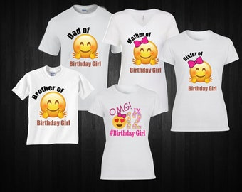 Emoji Birthday Girl Shirt Family Matching Party Mom Dad Brother Sister