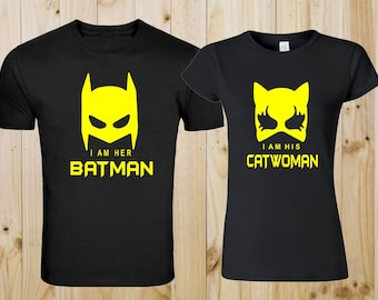 Batman Catwoman Matching Couple Valentine Tshirts