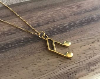 Dainty Minimalist Gold Plated Music Note Necklace