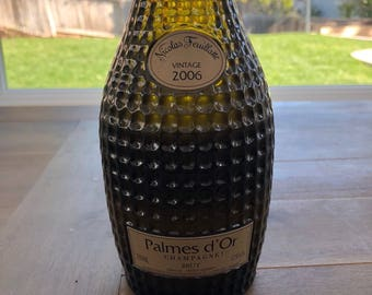 Upcycled Champagne Bottle Candle - Palmes d'Or