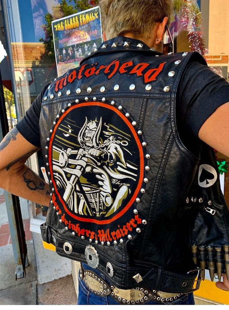 Mot\u00f6rhead Beer Drinkers and Hellraisers Studded Battle Vest x DIY x Faux Leather Motorcycle Vest x Ace Of Spades x Punk Vest x Heavy Metal