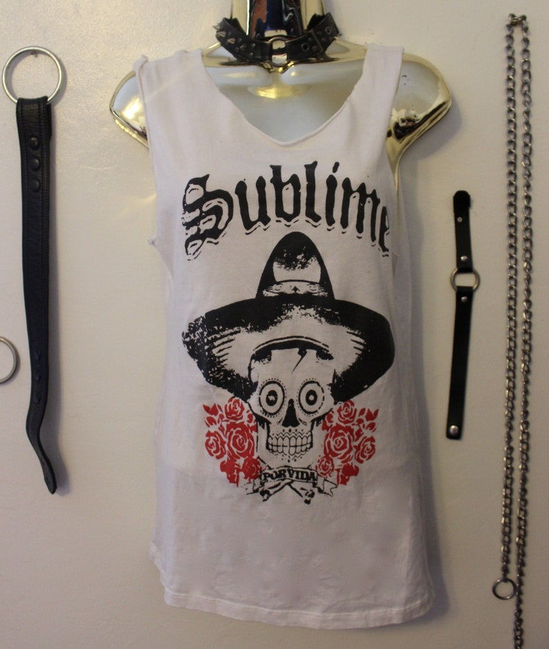 Sublime Tank top Por Vida RARE Vintage Custom Distressed White Graphic T-shirt x Ska x Punk Shirt Unisex Small Shirt Alternative clothing