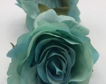 Large Light Turquoise Duck Egg Blue Green Rose Flower Hair Clip Fascinator 6099