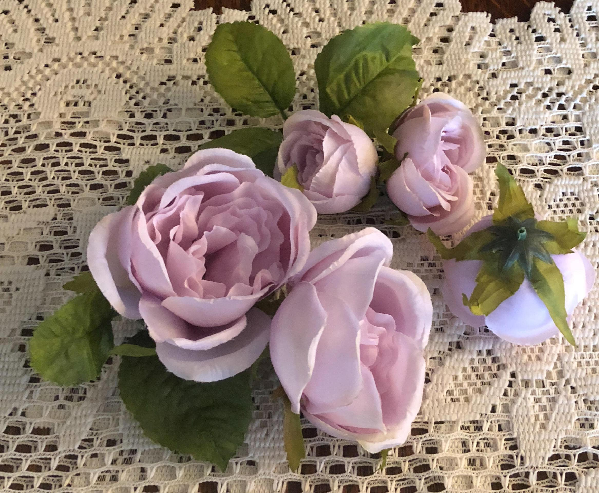 5 Lavender Garden Rose Artificial Flower Heads with Leaves