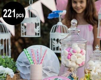 221 pcs Fairy partyware, fairy party supplies, garden fairy birthday party, fairy theme party, party decorations