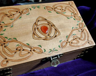 Wooden jewelry box, Engraved jewelry box, Celtic jewelry box, Runes, Gemstone inlaid jewelry box, Hand burned, Pyrography