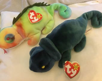 IGGY with tongue 1st edition and RAINBOW 1997 Original Beanie Babies MINT