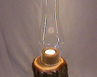 Unique, handmade, woodturned wood Oak candle holder with glass chimney and tea light