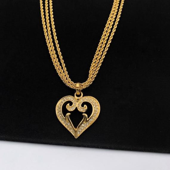VALENTINO GARAVANI Vintage Heart Crystal Necklace