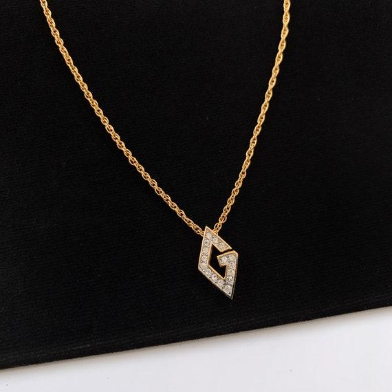 GIVENCHY Vintage G Crystal logo Necklace