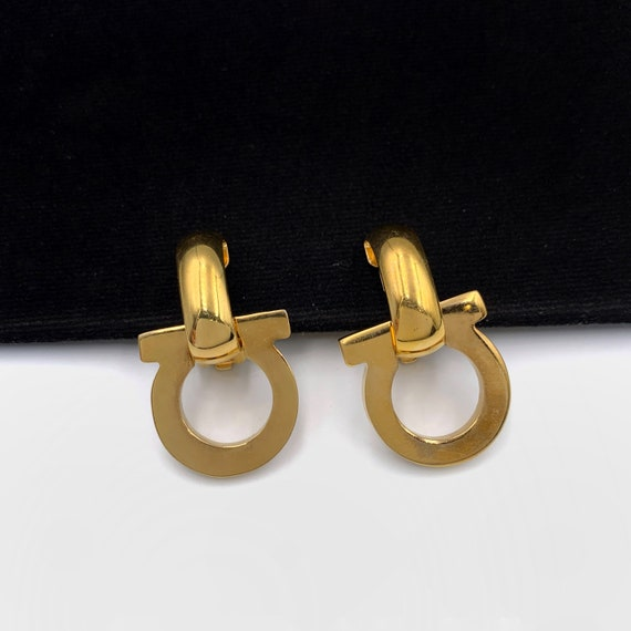 SALVATORE FERRAGAMO Vintage Logo Drop  Earrings