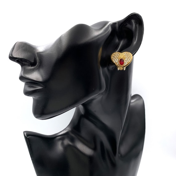 LANVIN Vintage Heart with Crystal clip on earrings - image 2