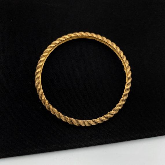CHANEL Rope Metal Gold Tone Bangle Bracelet