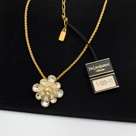 YSL Vintage Flower with Crystal Pendant Necklace