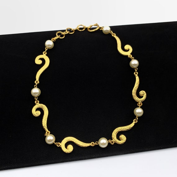 MOSCHINO BIJOUX Vintage Faux Pearl link Choker Nec