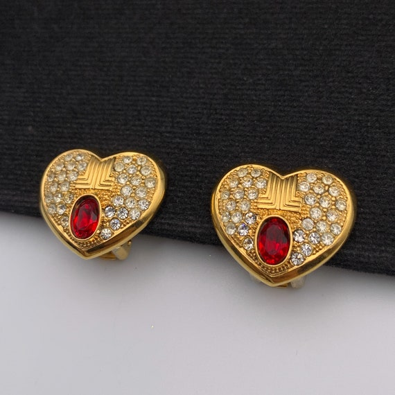 LANVIN Vintage Heart with Crystal clip on earrings - image 3
