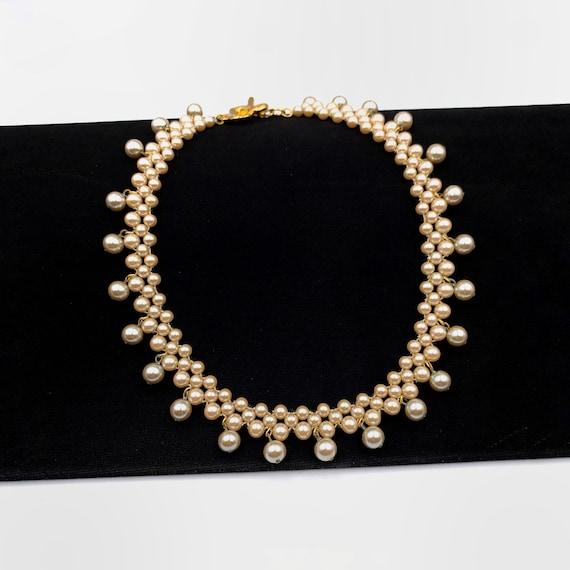 KENZO Vintage Floral Faux Pearl Necklace