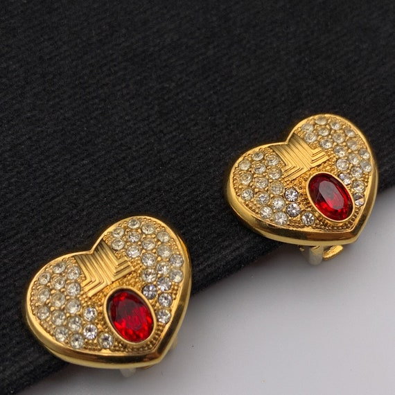 LANVIN Vintage Heart with Crystal clip on earrings - image 4
