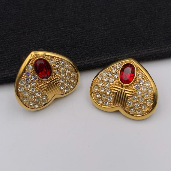 LANVIN Vintage Heart with Crystal clip on earrings - image 5
