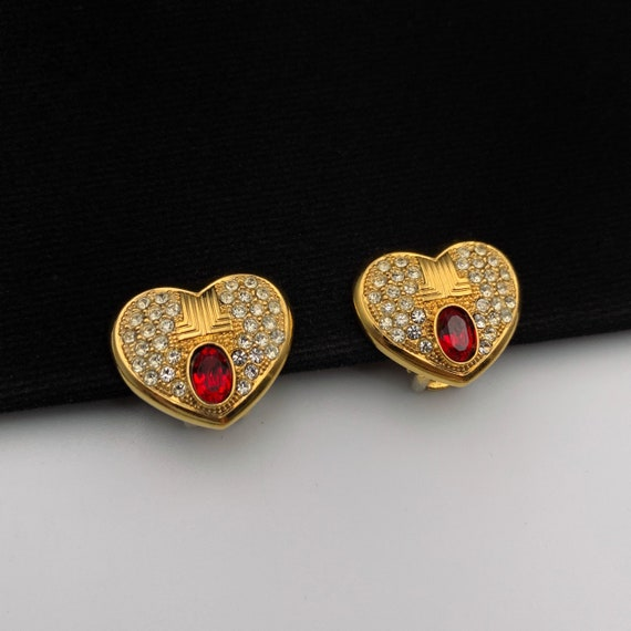 LANVIN Vintage Heart with Crystal clip on earrings - image 1