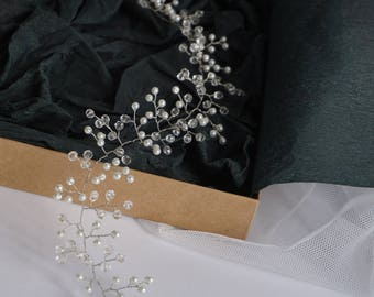 Wedding Hair Vine - Boho Bridal Hair Vine - Bridal Halo - Wedding Tiara - Crystal Hair Vine - Pearl Bridal Wreath - Silver Bridal Hair Piece
