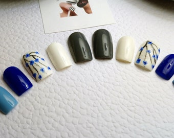blue cherry blossom reusable nails press on nails