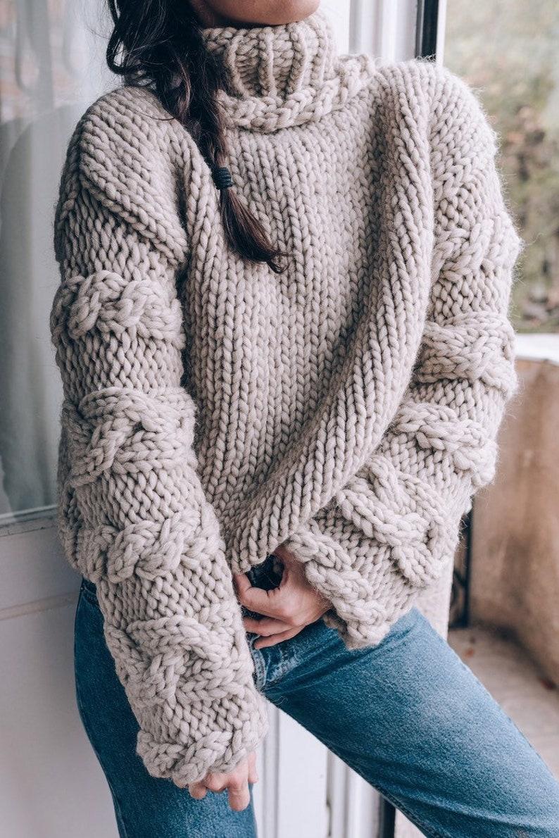 66c32fbcb Woman chunky sweater. Hand knit sweater. Turtleneck sweater.