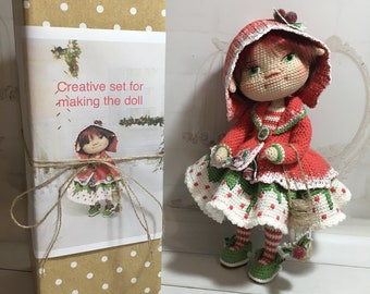 Knitting kit - all you need to knit a Christmas doll, make your own doll, amigurumi knitting kit, toy knitting kit. do it yourself