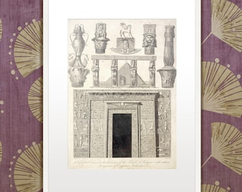 Originele vintage exotische, 19e eeuwse prent: het Oude Egypte. Met hierogliefen!